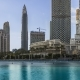 Downtown Dubai Skyline, View From the Dubai Fountain. Modern City Cityscape with Skyscrapers - VideoHive Item for Sale