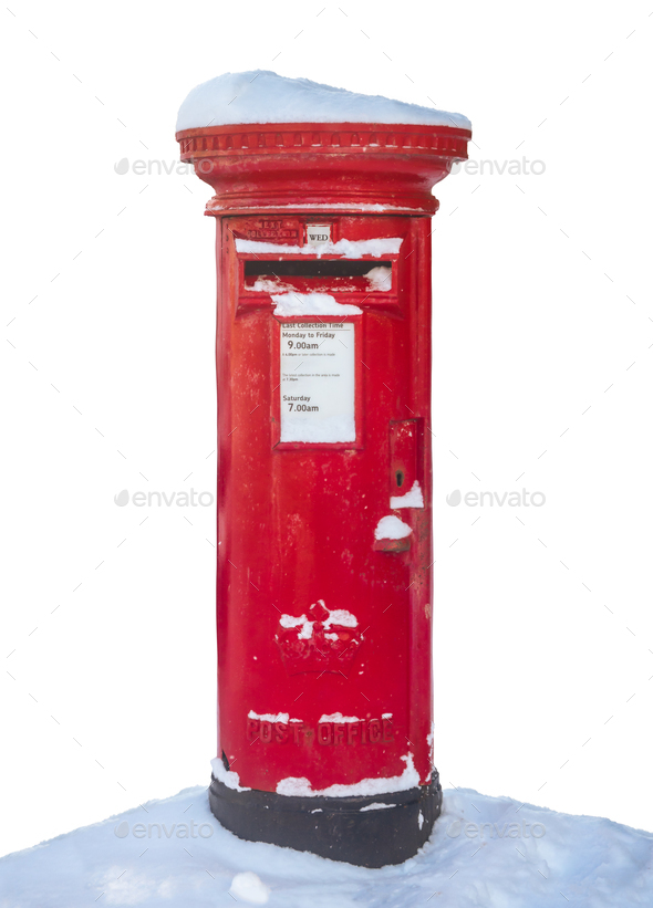 British Post Box In The Snow - Stock Photo - Images