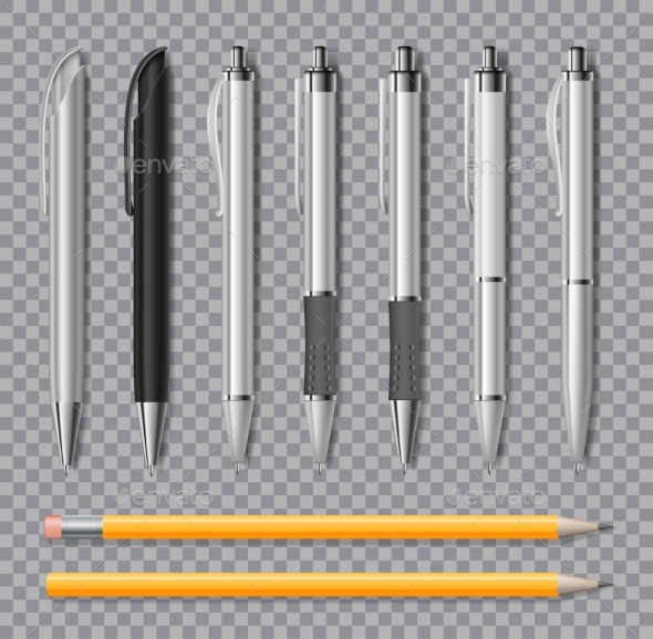 Set of Realistic Office Pens and Pencil Isolated - Miscellaneous Vectors