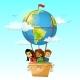 Children on Globe Hot Air Balloon Vector