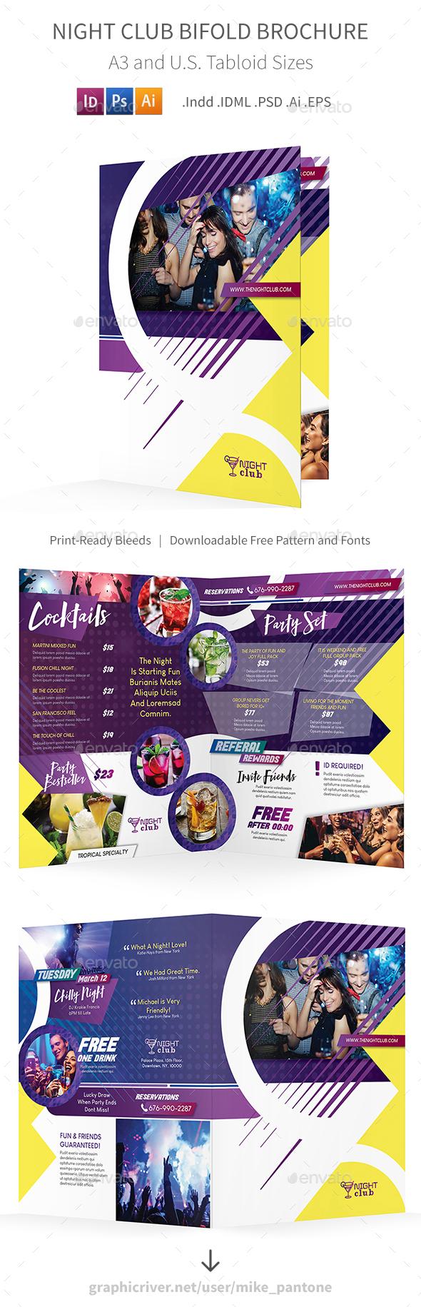 Night Club Bifold / Halffold Brochure - Informational Brochures