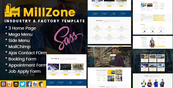 Image of MillZone Insdustry & Factory Base HTML Template