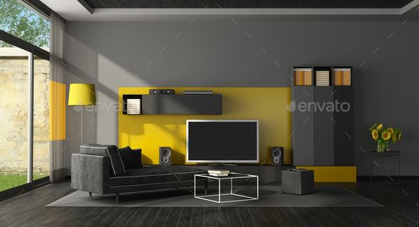 Black and yellow living room with tv set - Stock Photo - Images