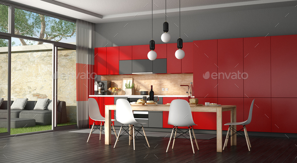 Black and red modern kitchen - Stock Photo - Images