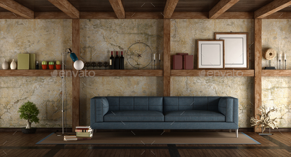 Modern sofa in a old room - Stock Photo - Images