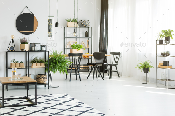 Wooden table in dining room - Stock Photo - Images