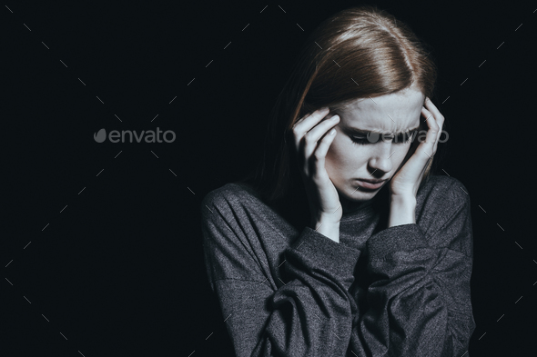 Woman having headache - Stock Photo - Images