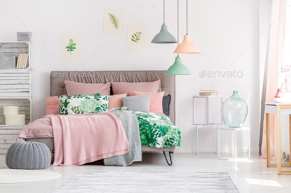 White and pink bedroom - Stock Photo - Images