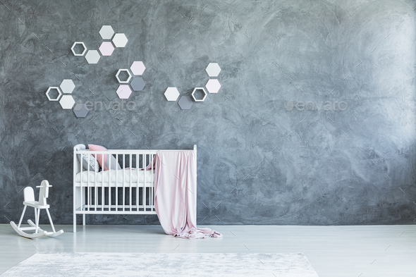 Grey baby's room with honeycombs - Stock Photo - Images