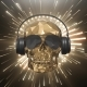 The Golden Low Poly Skull of the DJ on the Background of the Equalizer - VideoHive Item for Sale