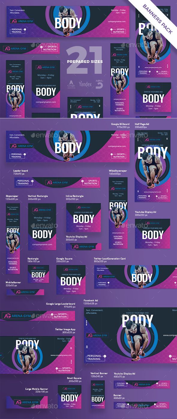 Gym Personal Training Banner Pack - Banners & Ads Web Elements