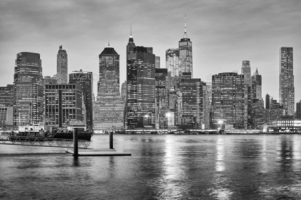 Black and white New York City skyline at night, USA - Stock Photo - Images