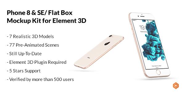 Phone 8 & SE / Flat Box - Mockup Kit - Free download