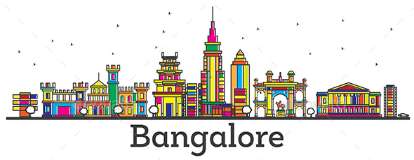 Outline Bangalore India City Skyline with Color Buildings Isolated on White. - Buildings Objects