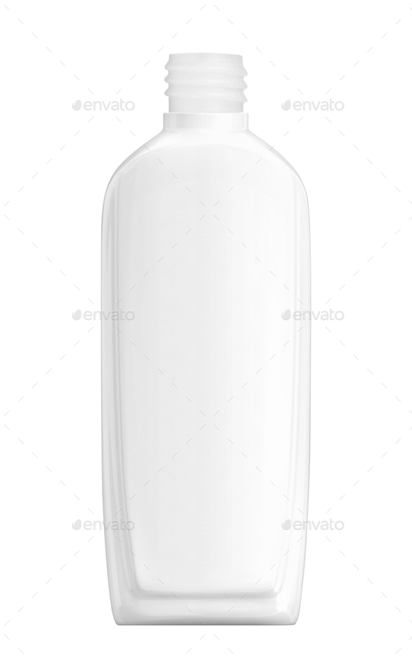 White plastic Shampoo Bottle isolated on white - Stock Photo - Images