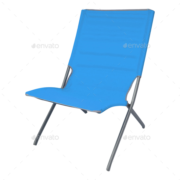 Blue summer deckchair isolated on a white background - Stock Photo - Images