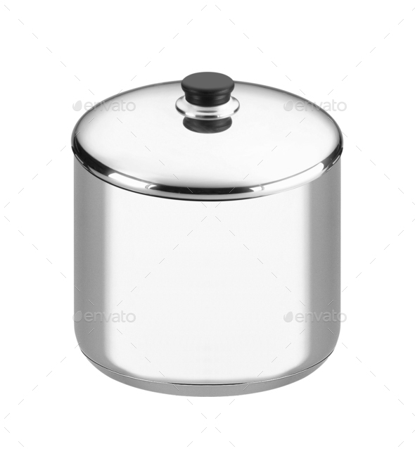 stainless steel cooking pot isolated on white background - Stock Photo - Images