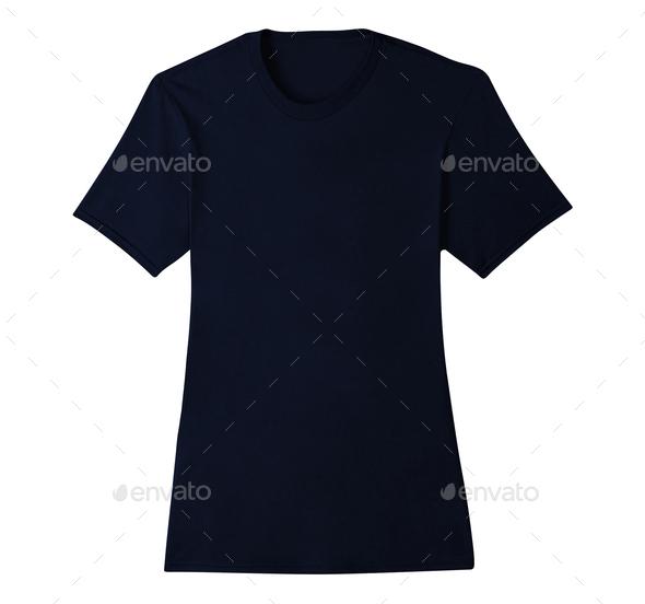 Blue t-shirt isolated on white - Stock Photo - Images