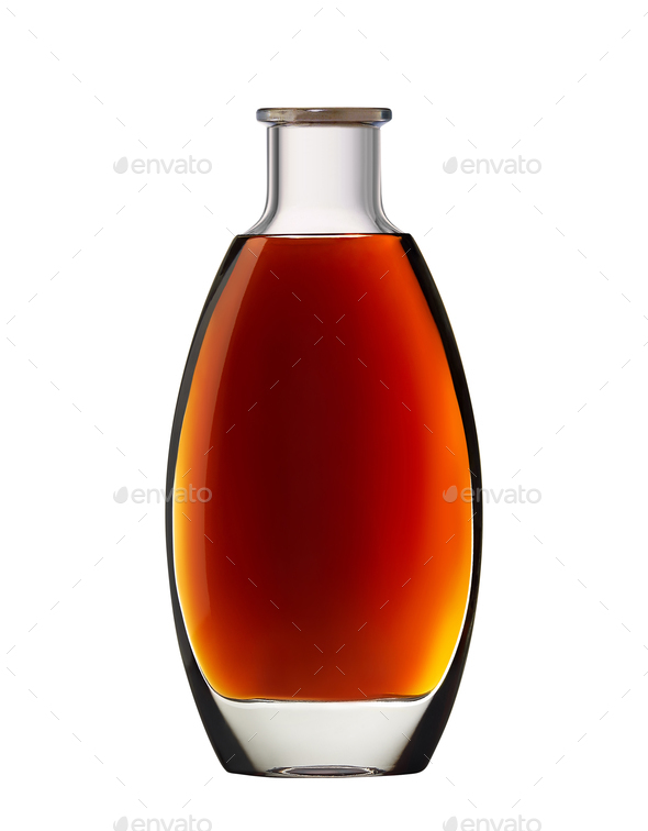 Cognac, whiskey or brandy bottle - Stock Photo - Images