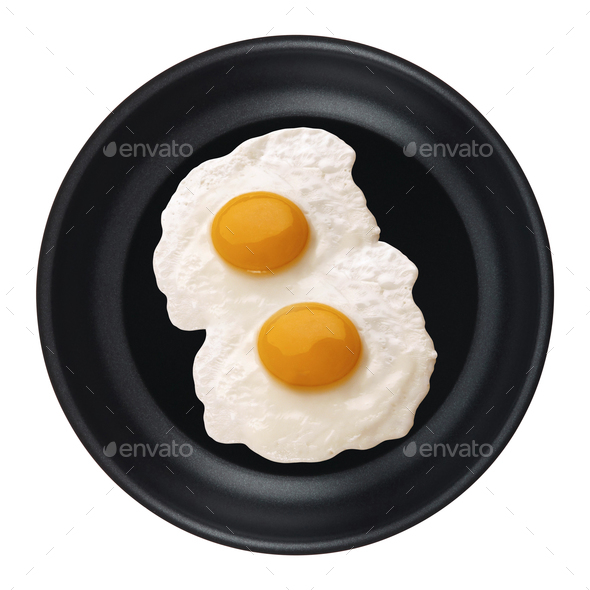 Eggs in a pan isolated - Stock Photo - Images