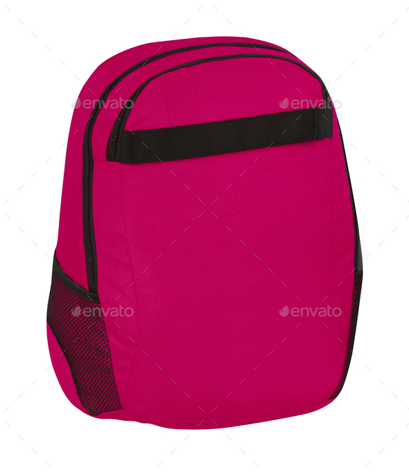 Red backpack standing isolated on white background - Stock Photo - Images