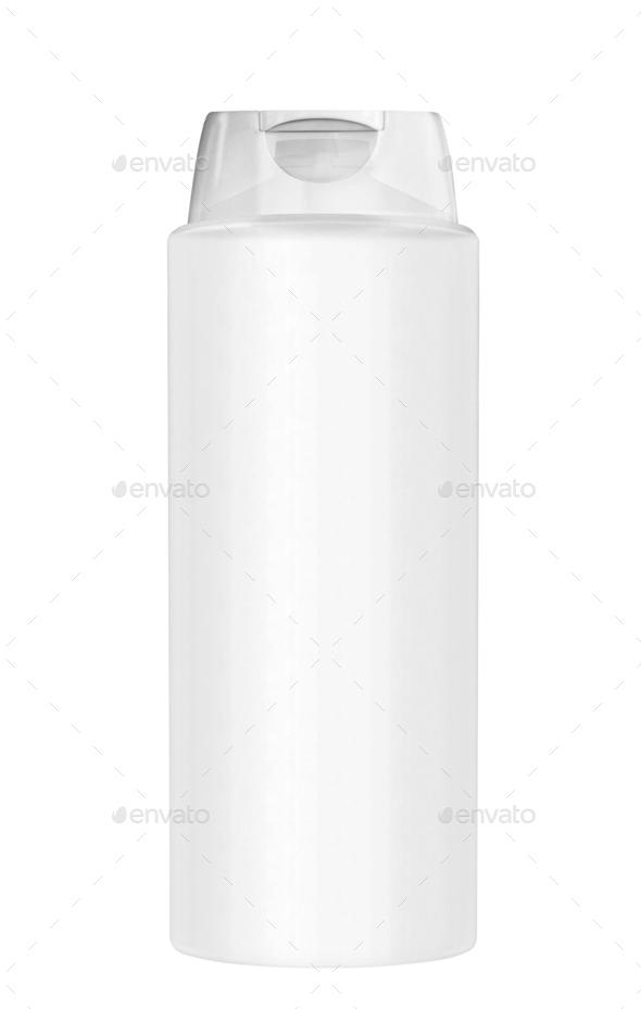 White plastic Shampoo Bottle - Stock Photo - Images