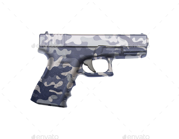 Glock automatic 9mm handgun pistol isolated - Stock Photo - Images