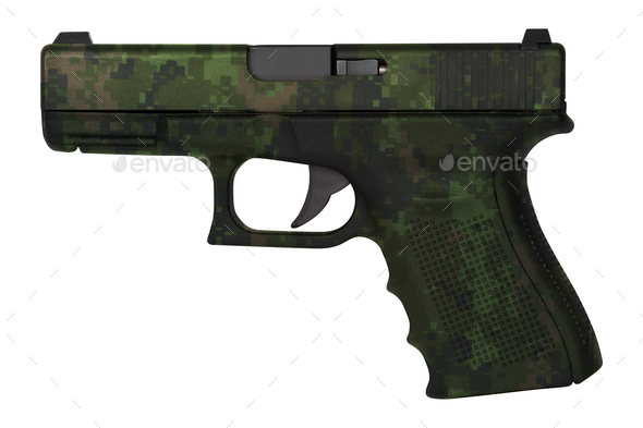 Glock automatic 9mm handgun pistol isolated - Stock Photo - Images