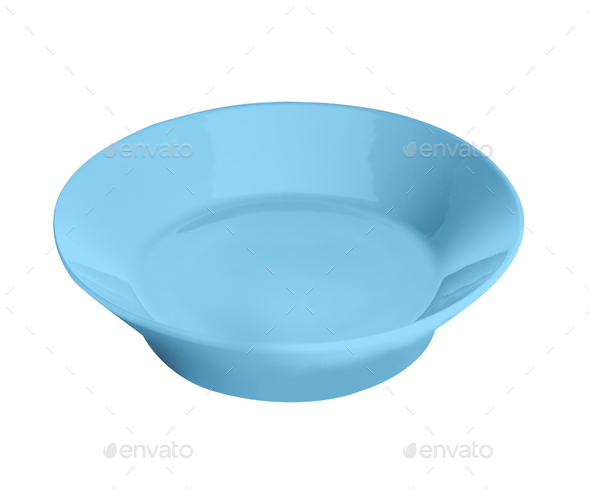 Blue plate isolated on white - Stock Photo - Images