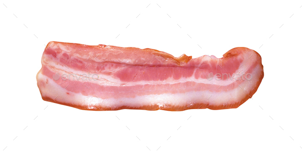 Bacon Strip isolated on white - Stock Photo - Images