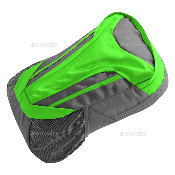 green Backpack isolated on white - Stock Photo - Images