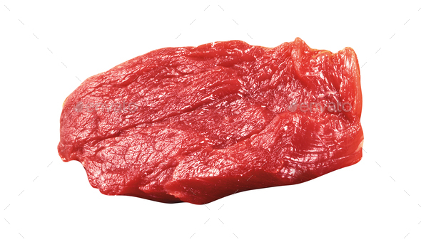 raw beef steak isolated on white background - Stock Photo - Images