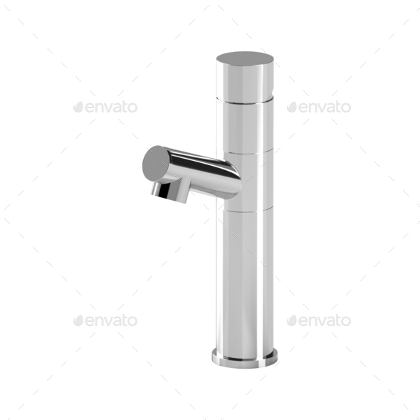 Metal faucet isolated on white - Stock Photo - Images