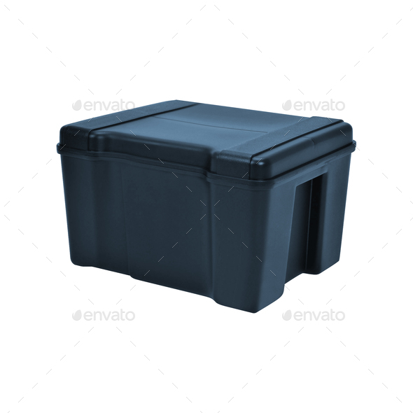 Handheld blue refrigerator isolated over white background - Stock Photo - Images