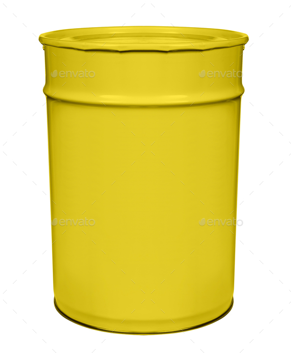 Can of yellow paint on white background - Stock Photo - Images