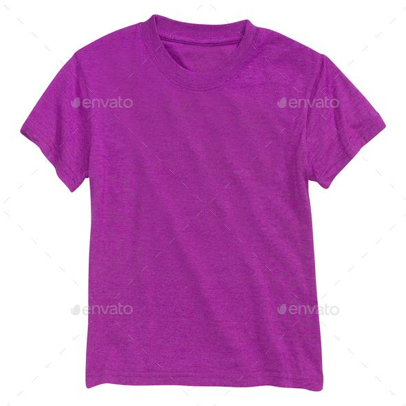 Purple tshirt isolated on white - Stock Photo - Images