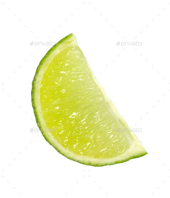 Lime slices on white background - Stock Photo - Images