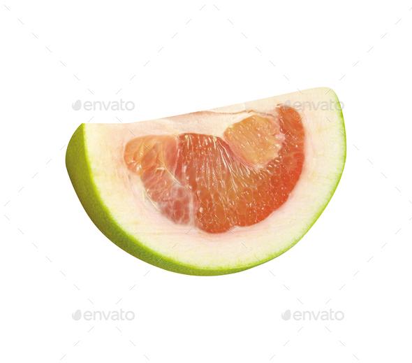Grapefruit slice isolated on white - Stock Photo - Images