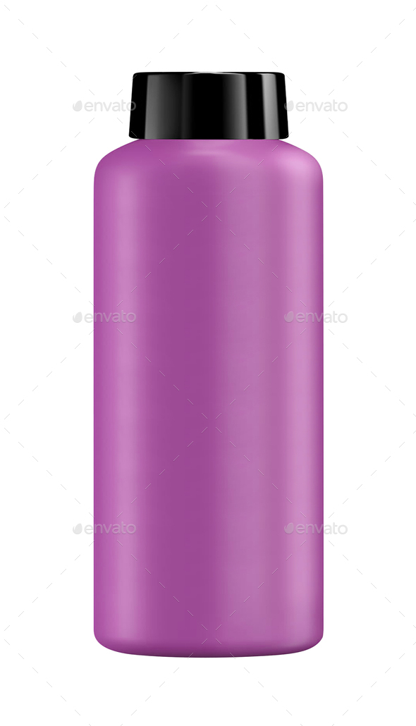 Shampoo in a purple plastic bottle isolated - Stock Photo - Images