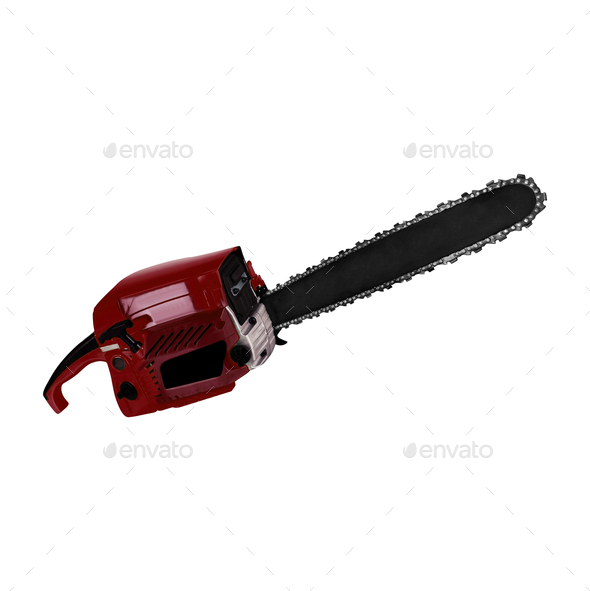 Chainsaw. isolated on white background - Stock Photo - Images