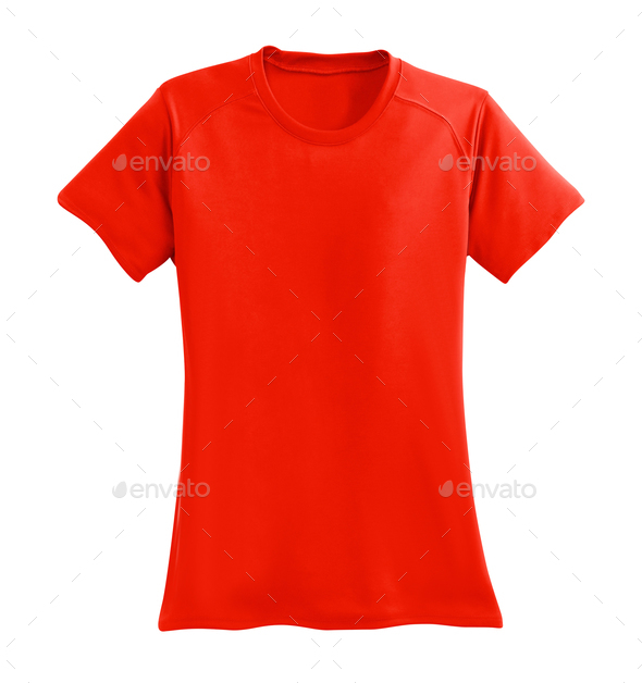 red man's t-shirt isolated on white background - Stock Photo - Images