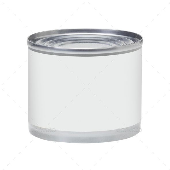 Tin can with no label isolated on white - Stock Photo - Images