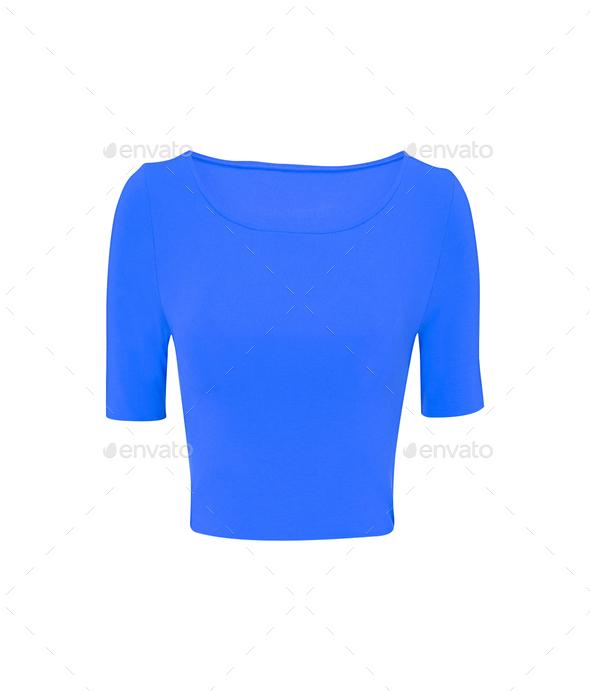blue tshirt isolated on white - Stock Photo - Images