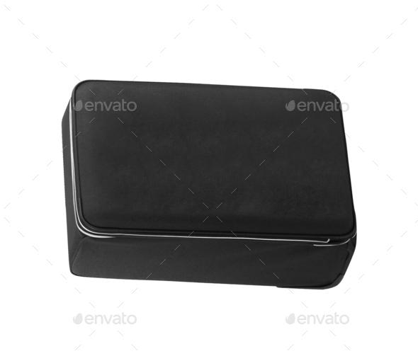 Black suitcase isolated on white background - Stock Photo - Images