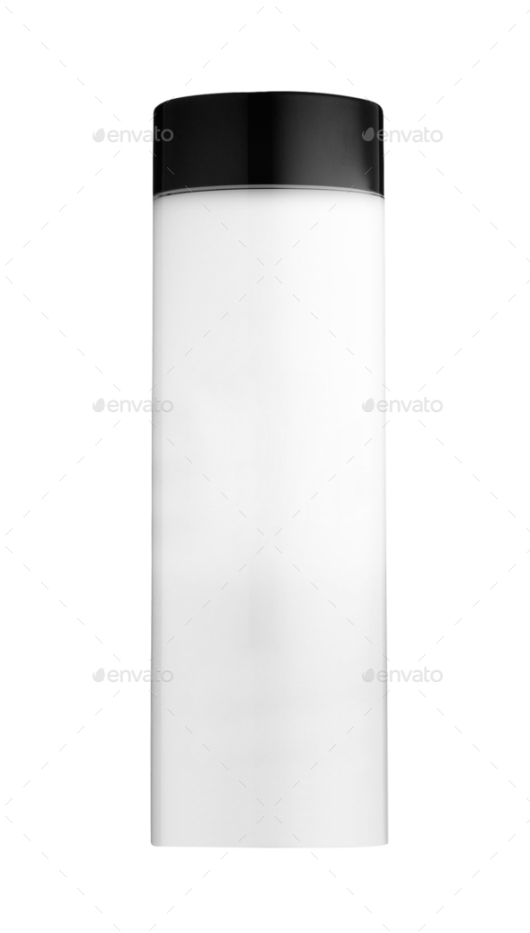 White glossy plastic shampoo bottle - Stock Photo - Images