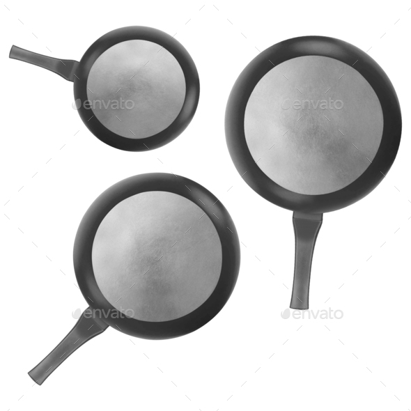 empty frying pans isolated on white background - Stock Photo - Images