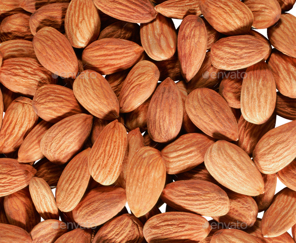 Peeled almonds background - Stock Photo - Images