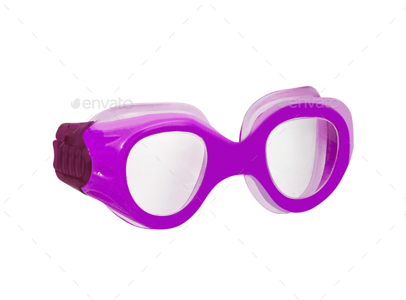 purple rubber frame goggle on white background - Stock Photo - Images