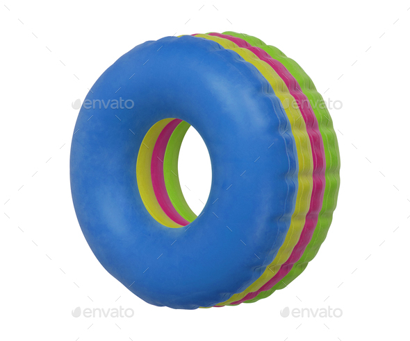 Group of colorful swim ring isolated on white - Stock Photo - Images
