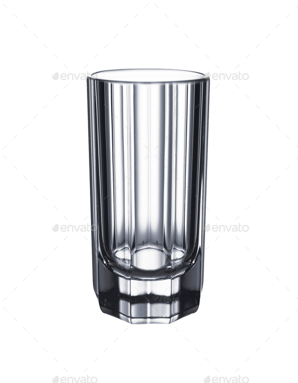 Empty glass cup isolated on white background - Stock Photo - Images